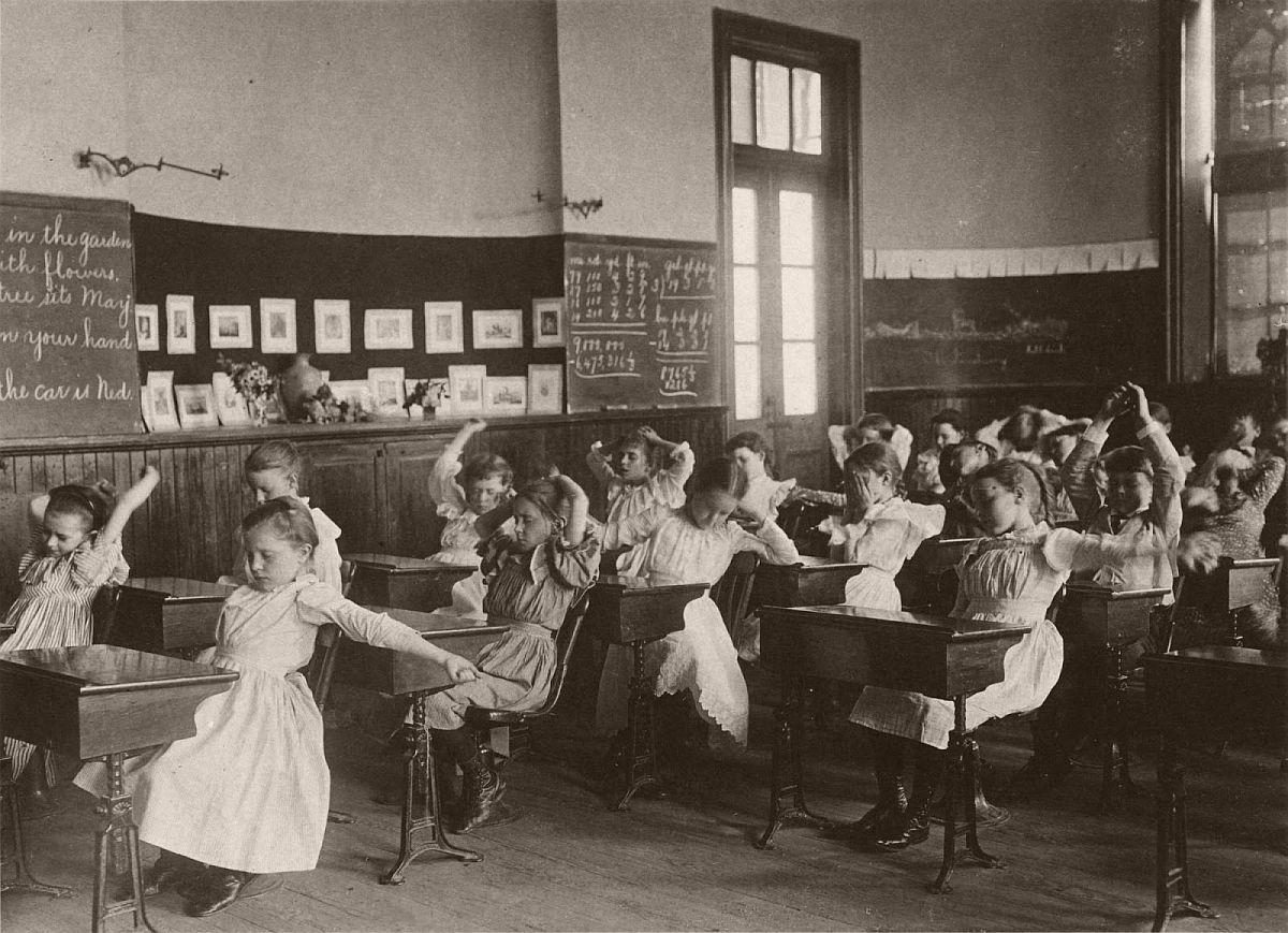 Schoolgirls doing calisthenics
