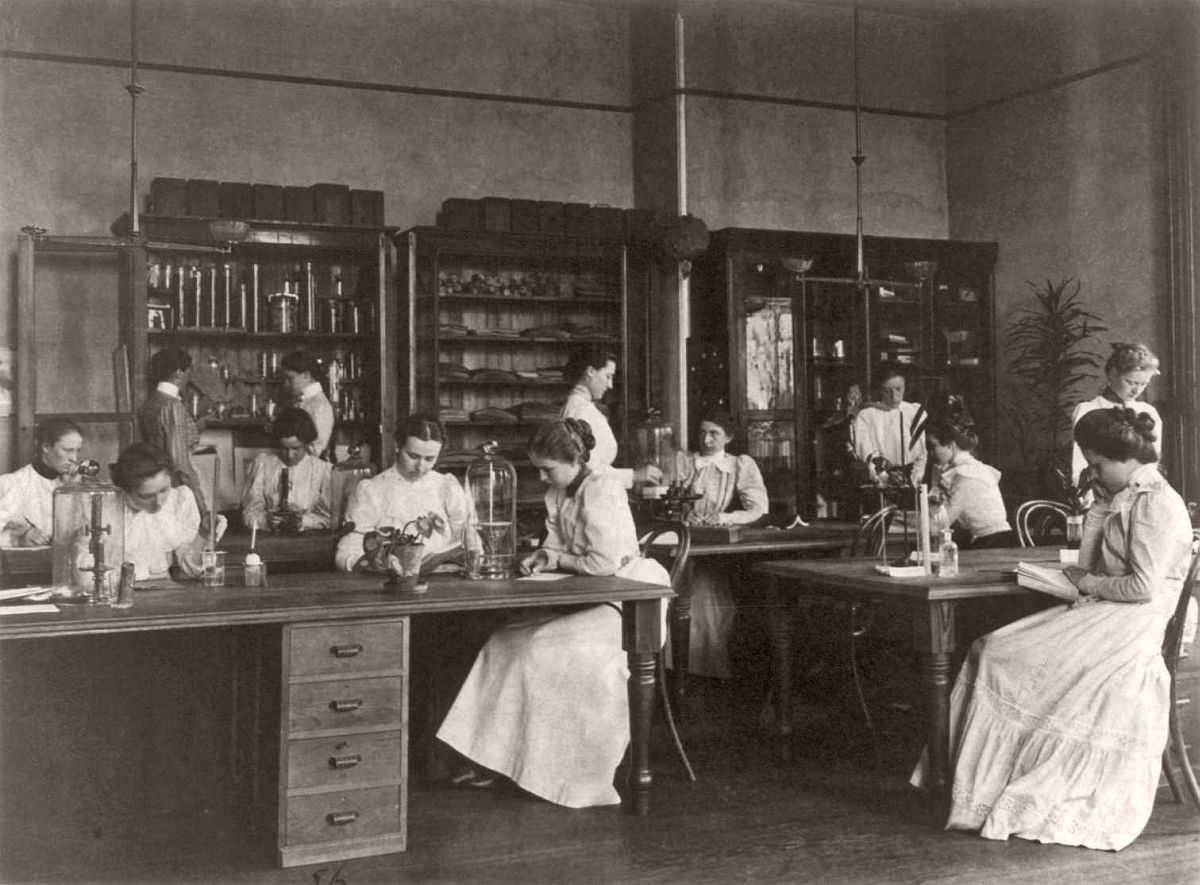 Girls in a science laboratory at Eastern High School, Washington, DC, 1899