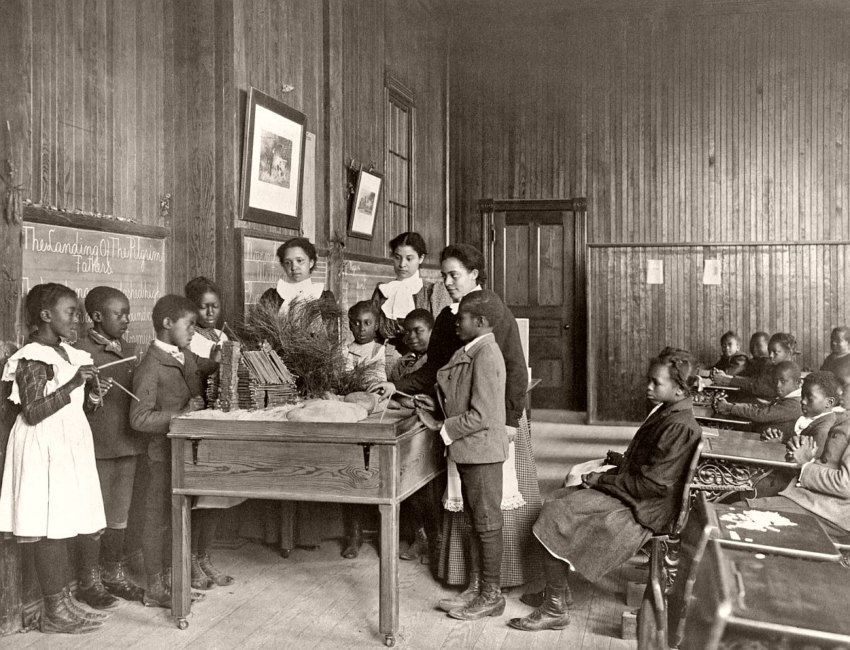 Thanksgiving Day lesson at Whittier, 1899-1900