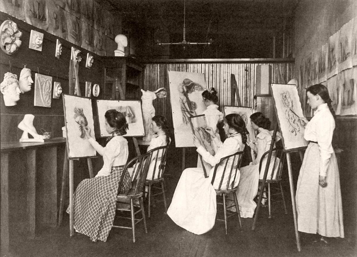 6 girls in art class, drawing at easels, Eastern High School, Washington, DC, 1899