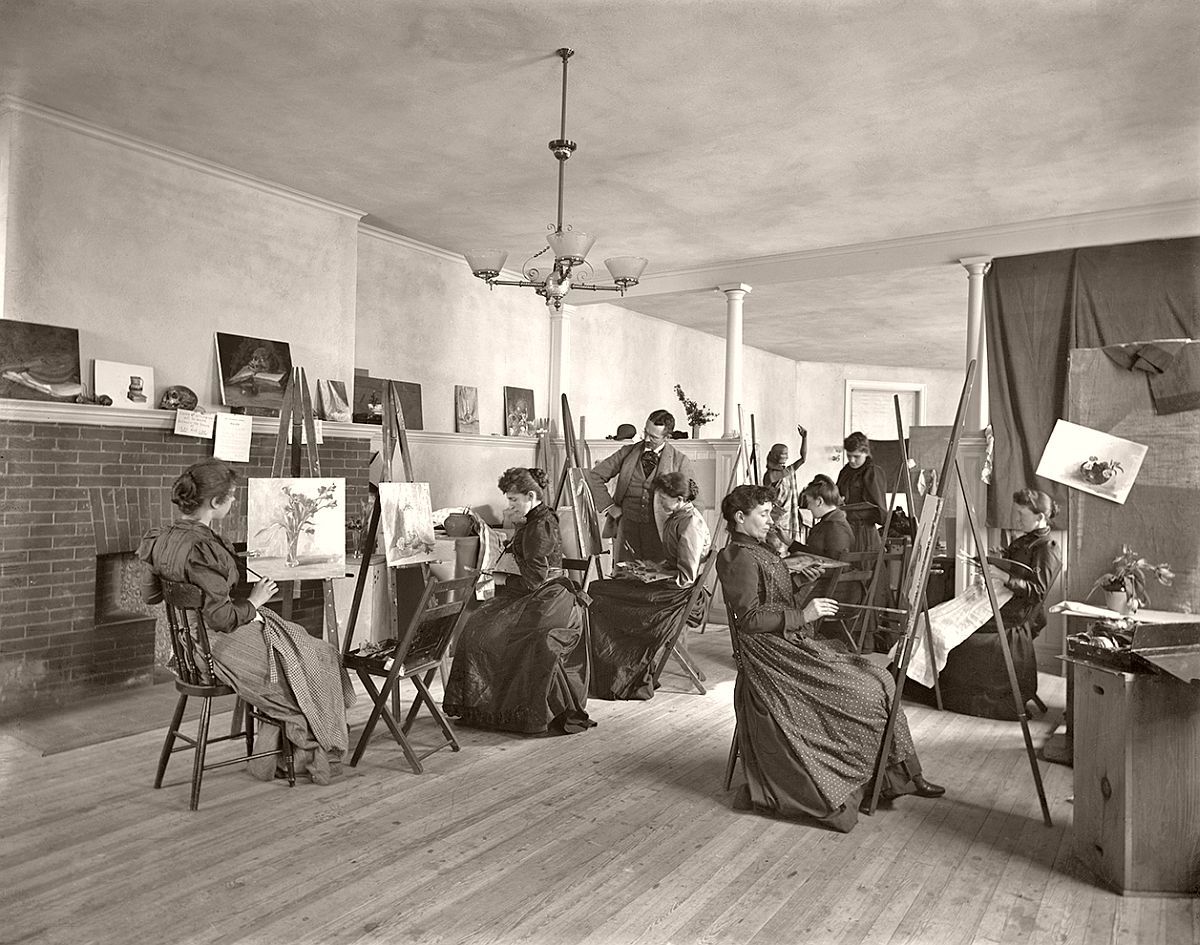 Women painting at easels in a class at the Art Students' League, Washington, DC, 1889