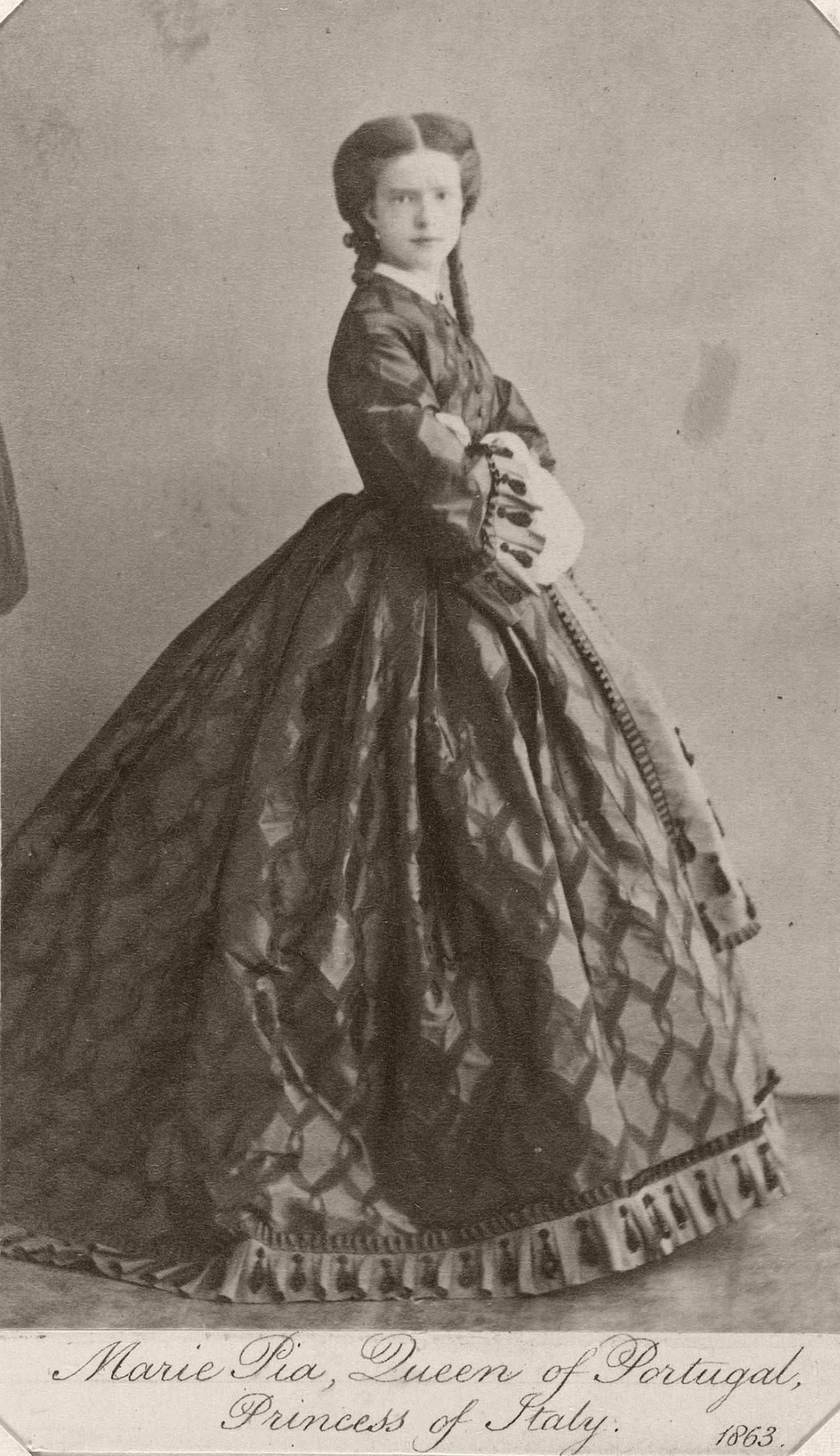 Photograph of Queen Maria Pia of Portugal, Princess of Italy, 1863.