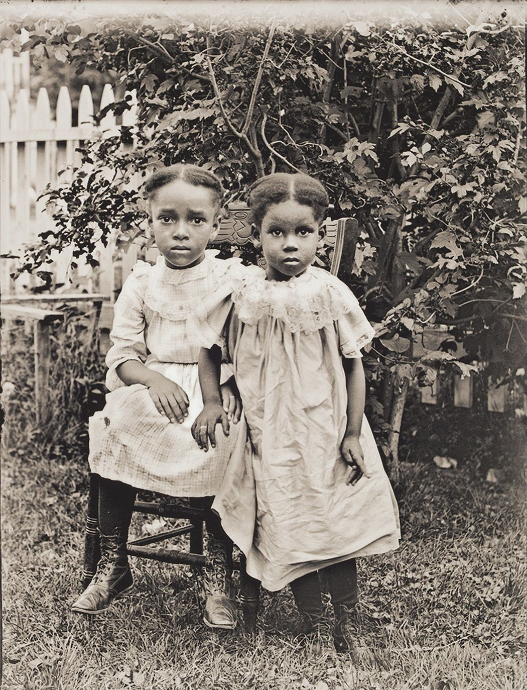 Portrait of the Jackson Children, about 1900, printed 2016, archival inkjet print, E.132.16.9 These girls were probably the grandchildren of former Virginia slave Bethany Veney, who authored a narrative of her life in slavery. Veney owned three houses in Worcester's Beaver Brook neighborhood and encouraged the migration of additional Virginia family members to the city. Unique among Bullard's photographs, the Jackson girls are in wrinkled dresses unlike his other portraits typically featuring subjects in more formal attire.