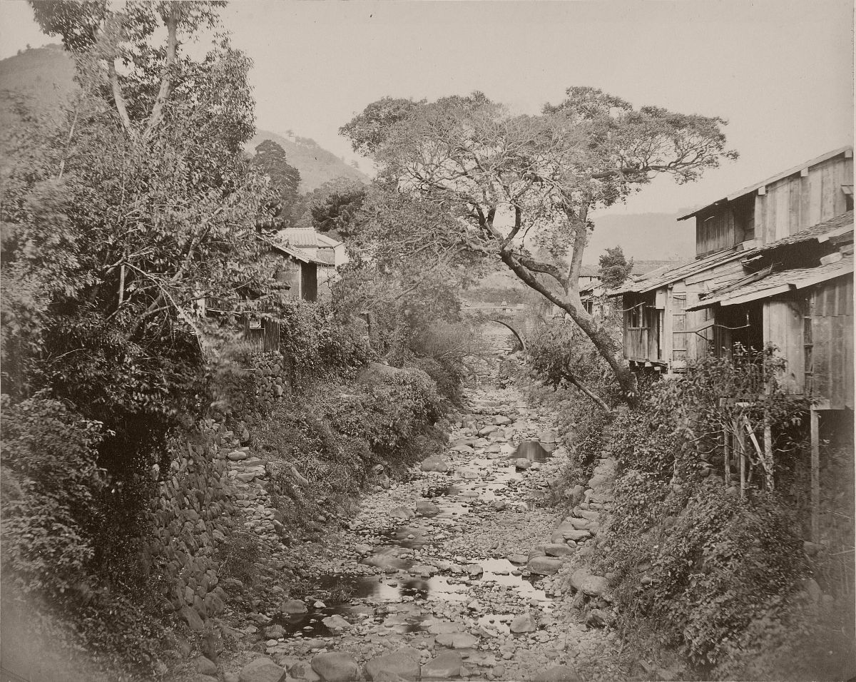 Japanese Village with Stream, 1862