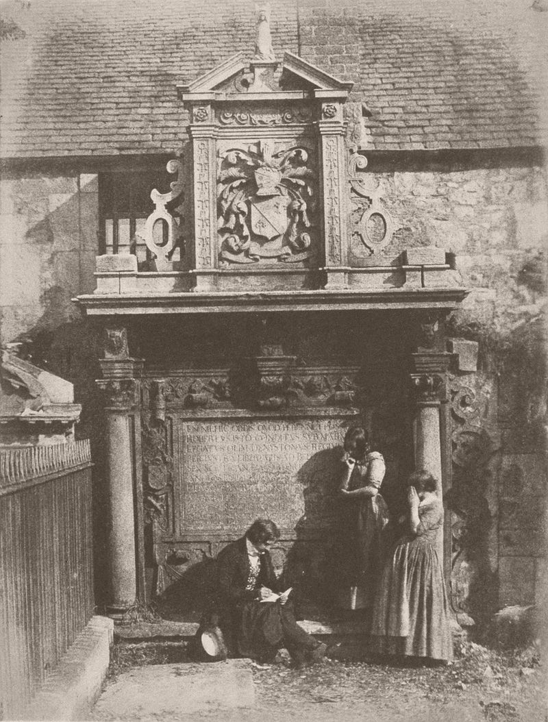 Greyfriars' Churchyard, the Dennistoun Monument with D. O. Hill and His Nieces, 1843