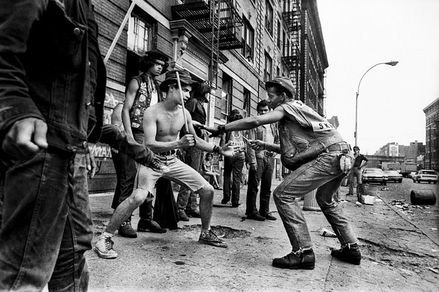 Savage Skulls street gang play-fighting, Bronx, NY, July 20th, 1972