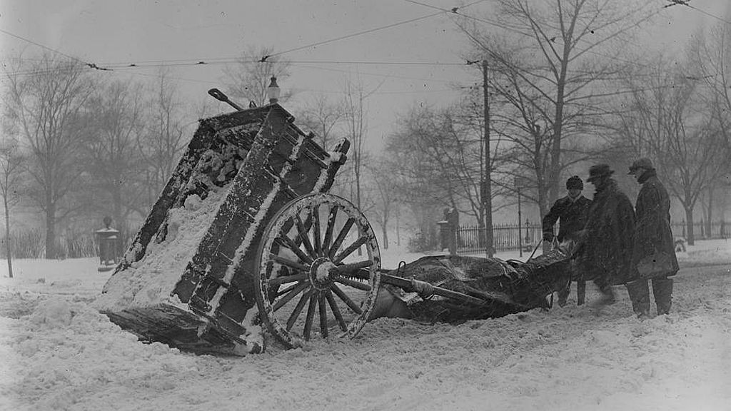 Circa February 1920. Horse and wagon accident next to Common.