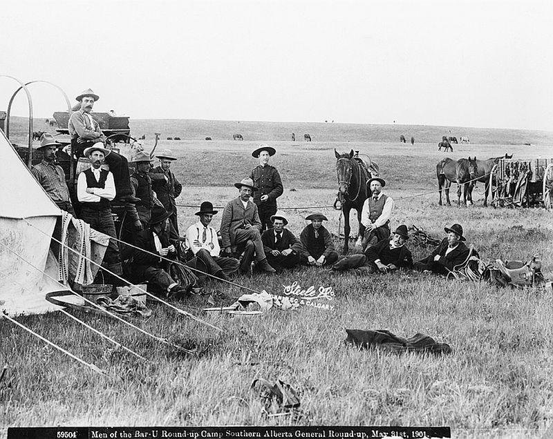 Bar U Ranch cowboys, general round-up, southern Alberta, May 31, 1901