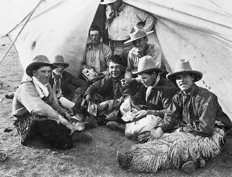 Bar U Ranch group on round-up, Pekisko, Alberta, 1900-05