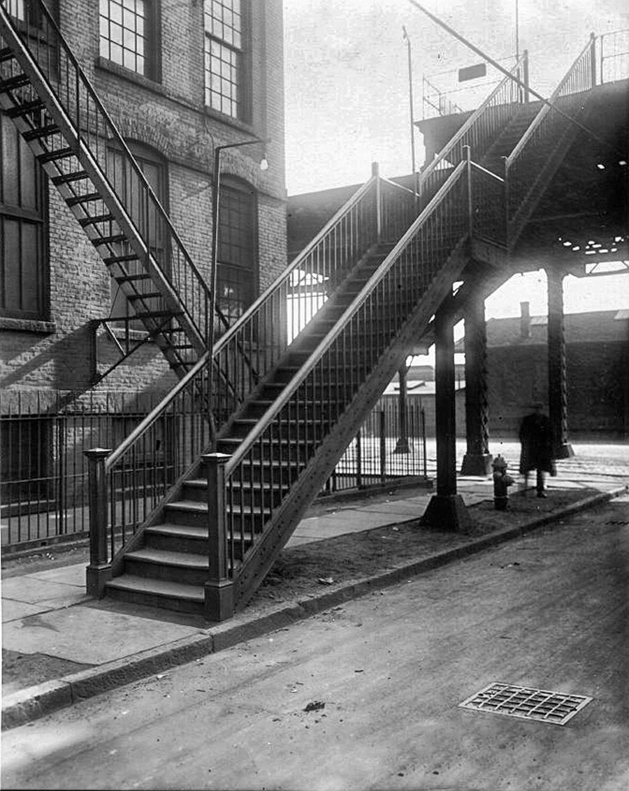Stairs to the elevated tracks in Hoboken, Willow Ave. and Ferry St.(now Observer Highway), ca. 1932-38