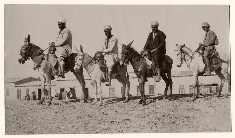 Men ridding on their donkeys