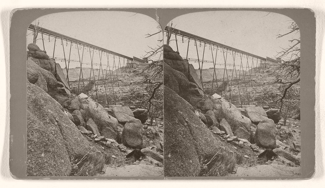 Dale Creek Iron Viaduct, 132 feet high, 660 feet long, Union Pacific Railroad. 1870s.