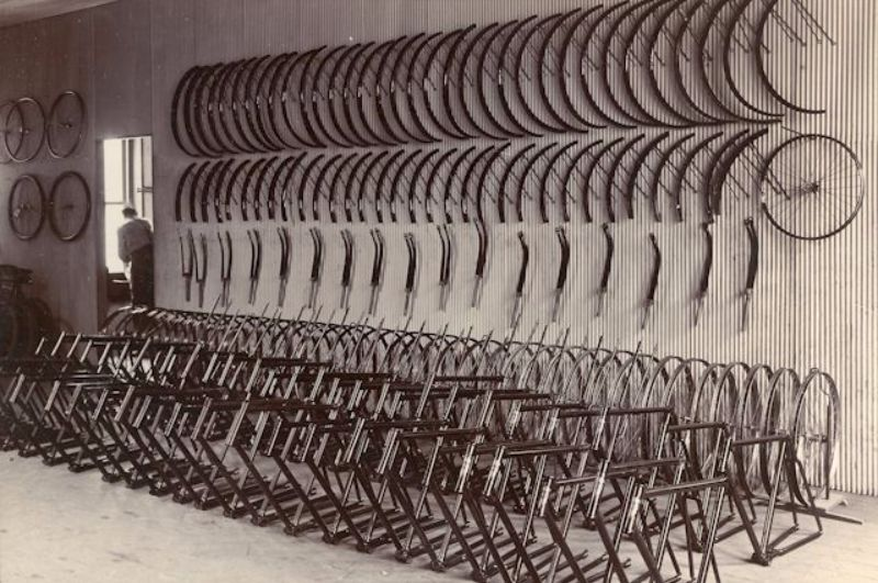 Bicycles await assembly, Gawler Place, c1904