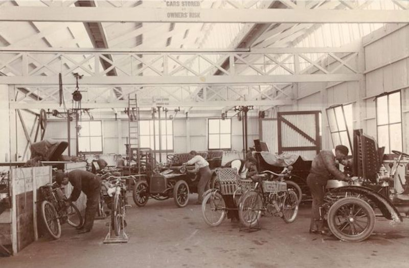 Cars and motorcycles in the Molton Street workshop, c1905-6