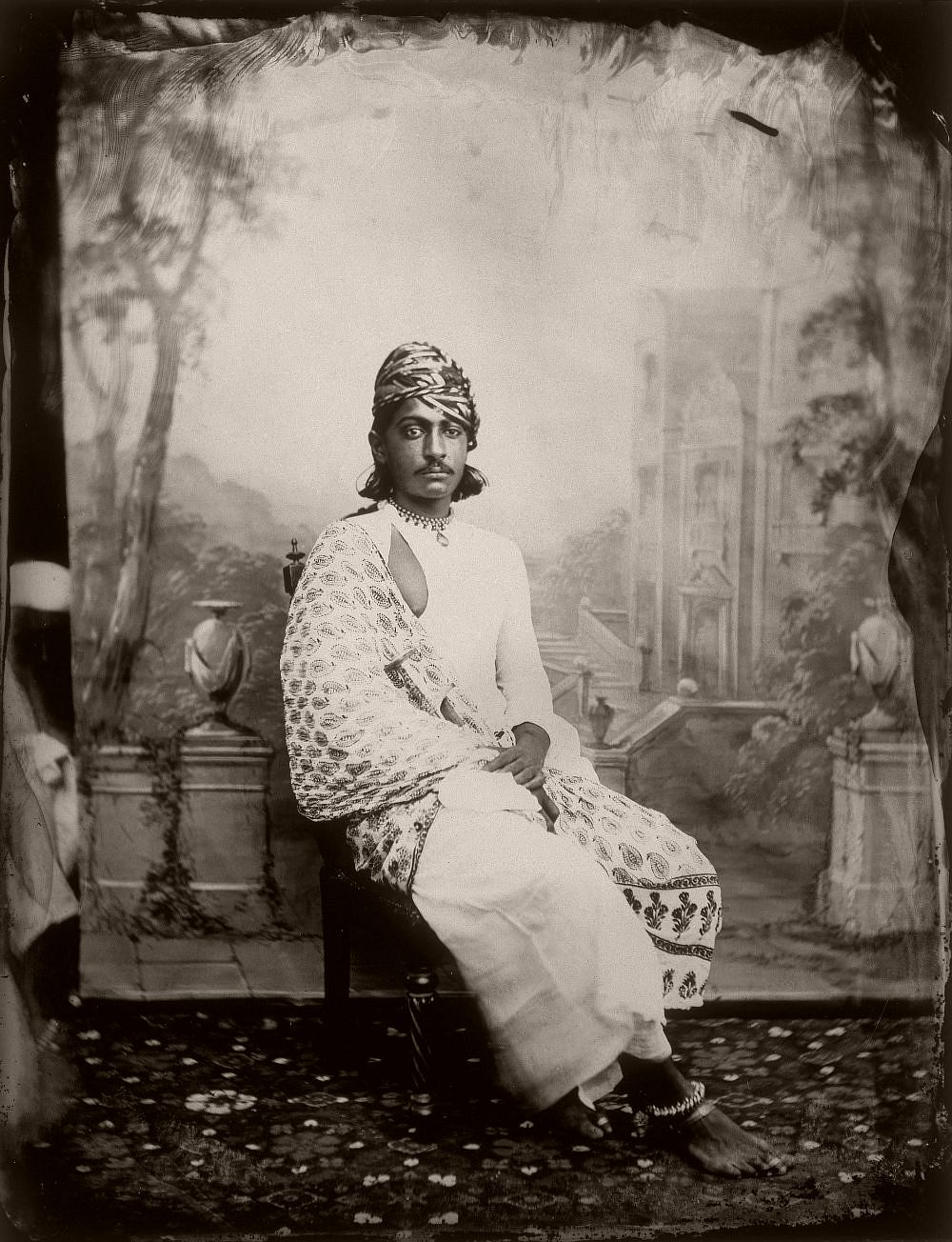 Portrait of a prince in the royal court of the palace of Jaipur, India, circa 1857. (Photo by Maharaja Ram Singh III/Alinari Archives, Florence/Alinari via Getty Images)