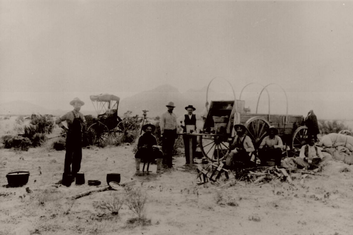 Noon camp of a surveying outfit, southwest part of Jornada Range Reserve, New Mexico, October 17, 1912.