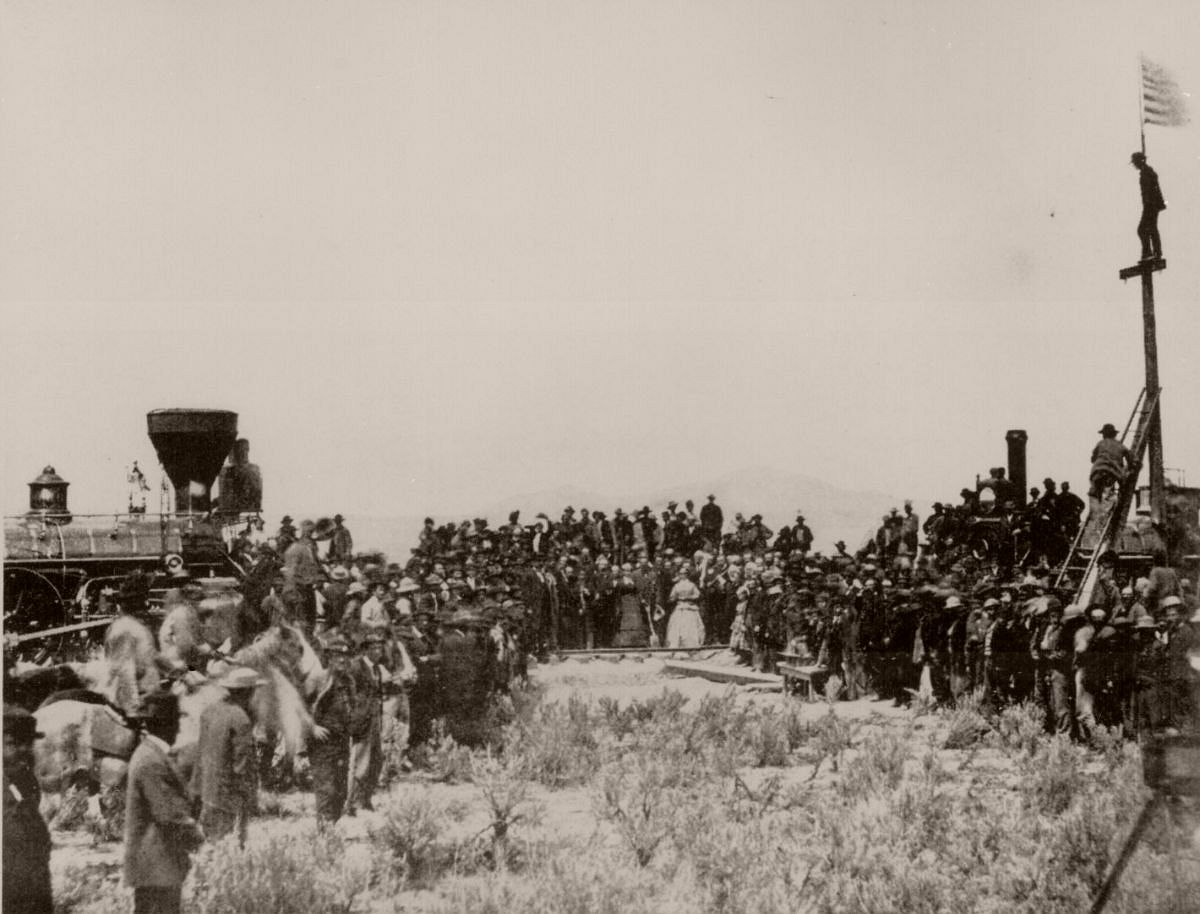 Joining the tracks for the first transcontinental railroad, Promontory, Utah, Terr., 1869.