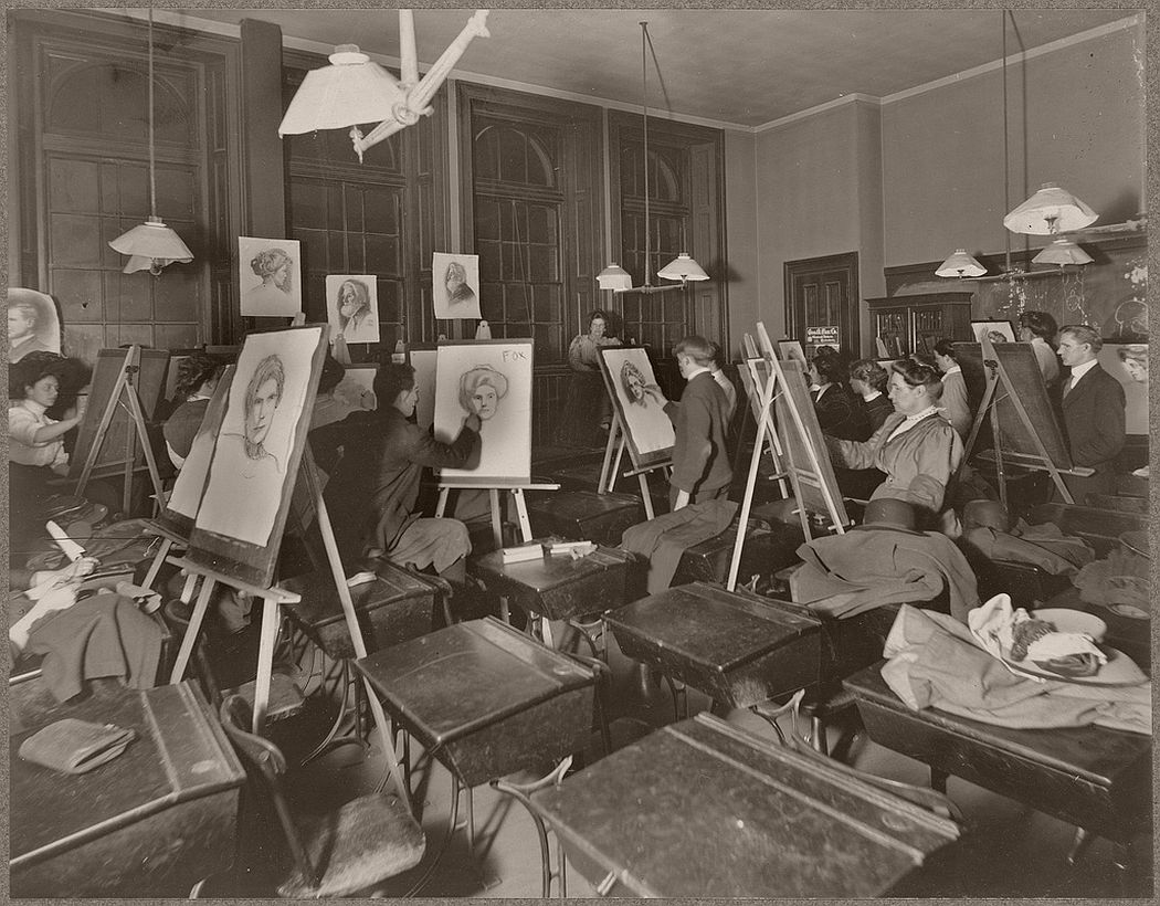 Evening drawing school, Warren Avenue (second year class drawing from life models)