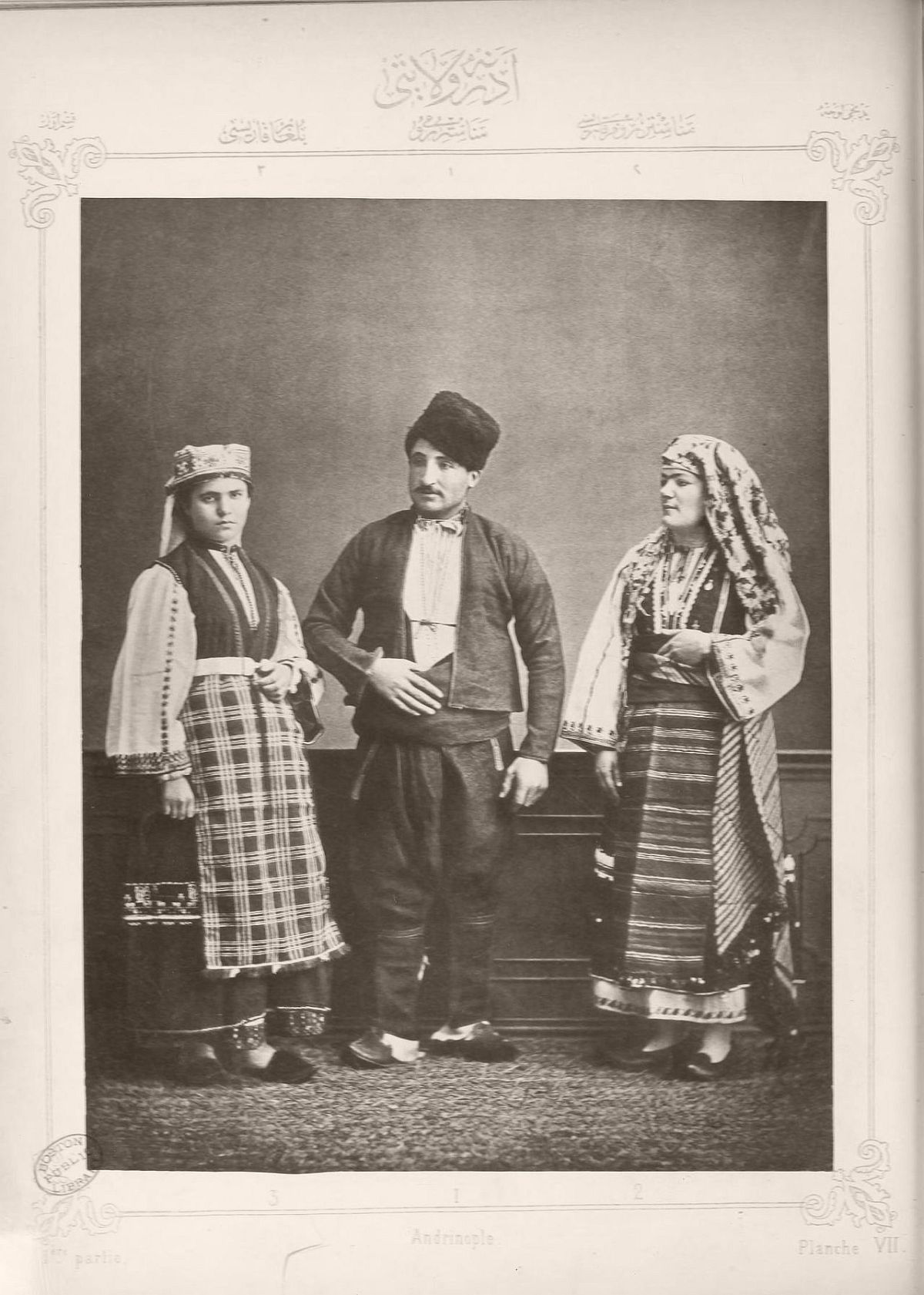 1. Greek peasant from Bitola 2. Greek peasant woman Bitola 3. Bulgarian woman from Shkodër