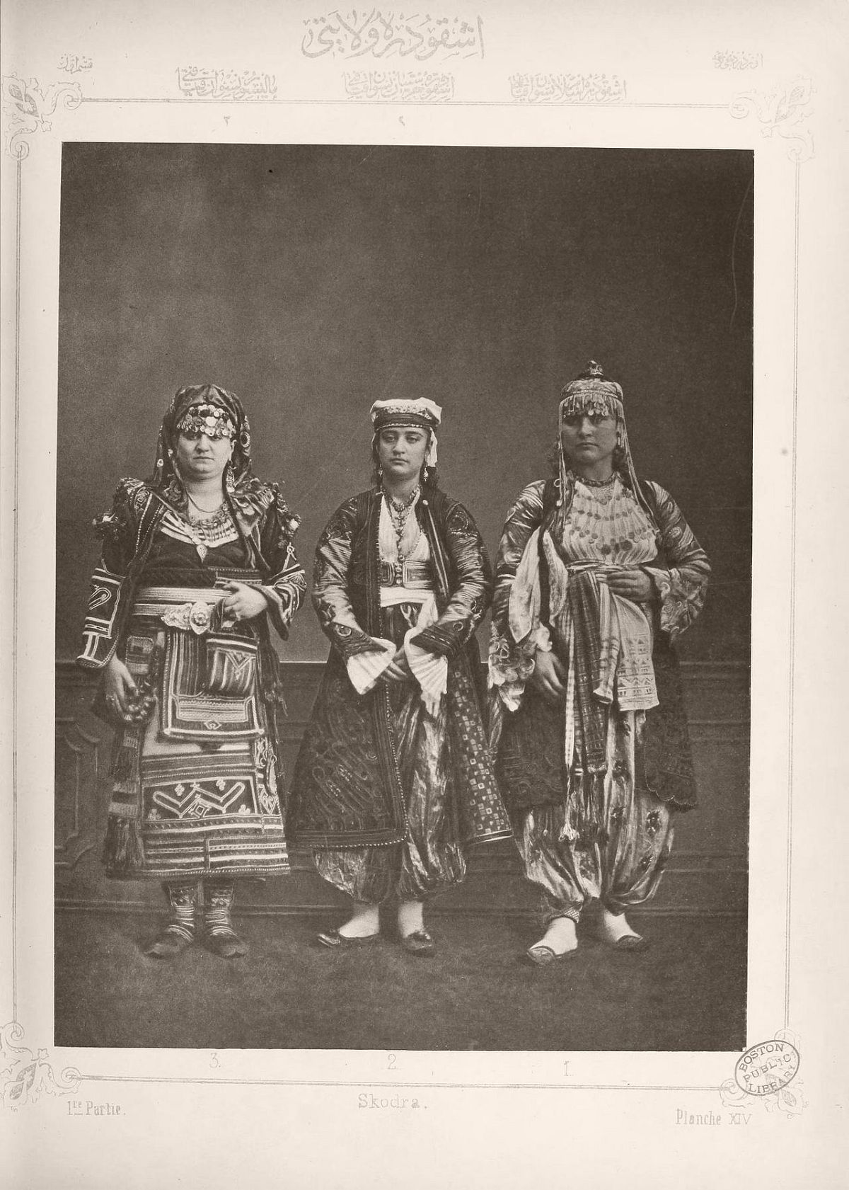 1: Muslim lady from Shkodër 2. Christian lady from Shkodër 3. Peasant woman from Malissor