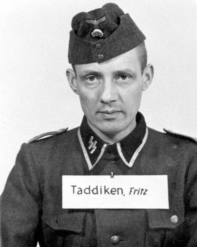 Fritz Taddiken, former painter and glazier. Promoted to Unterscharführer (Junior Squad Leader) in the SS in 1944. Later convicted of war crimes by a court in Krakow.