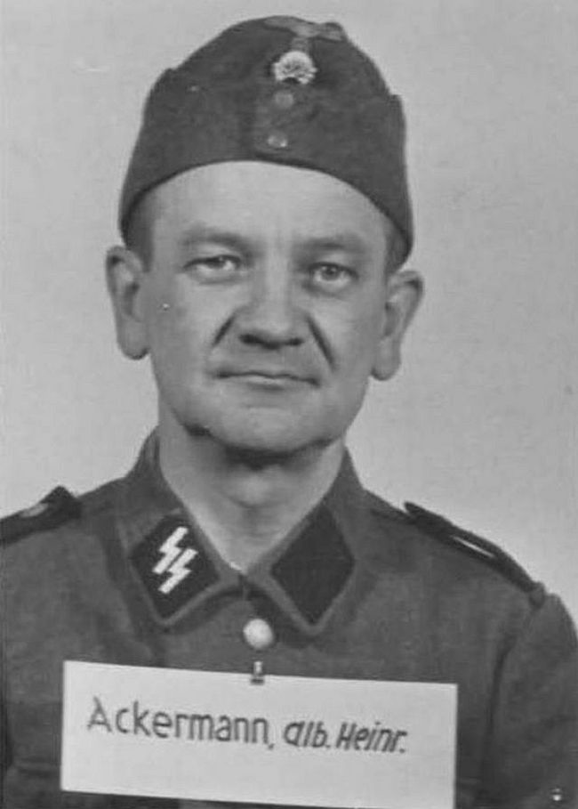 Albin Ackermann, former waiter. Joined SS in 1944 as a Sturmmann (Stormtrooper).
