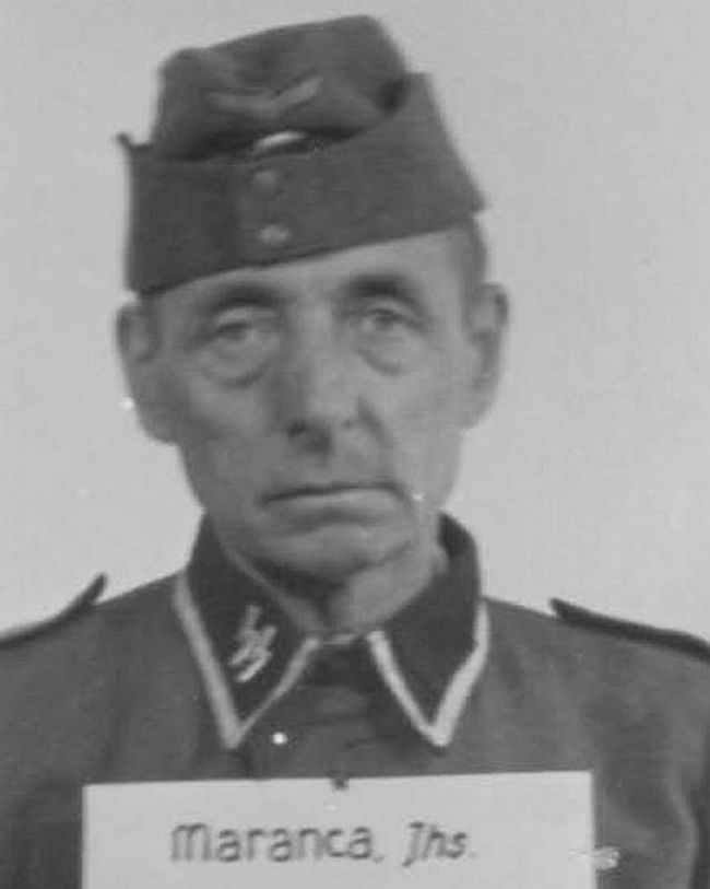 Johannes Maranca, WWI veteran and former tinsmith and roofer. Returned to duty in the SS in 1944 as a Scharführer (Squad Leader).