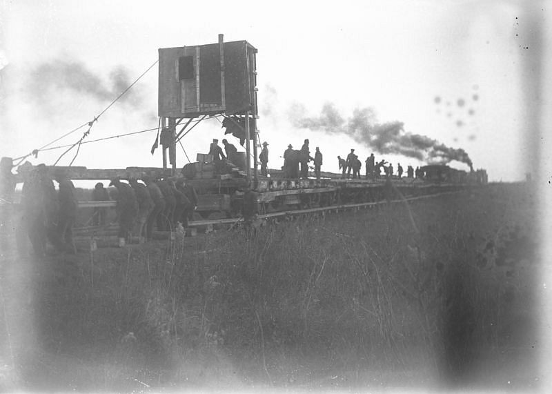 Work crew on a rail line near Spruce Grove, Alberta