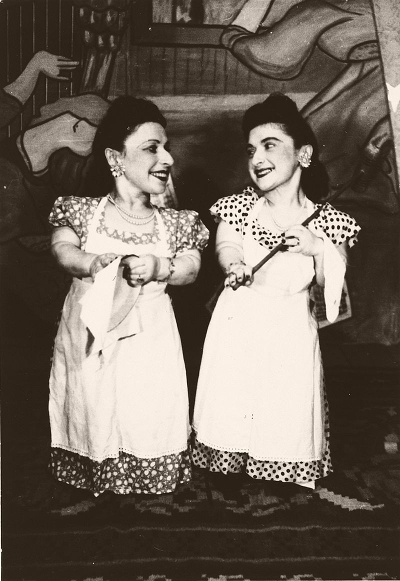 Perla (right) and Elizabeth Ovitz: as the five sisters and two brothers were all good-looking and musically gifted, the stage seemed the perfect career.