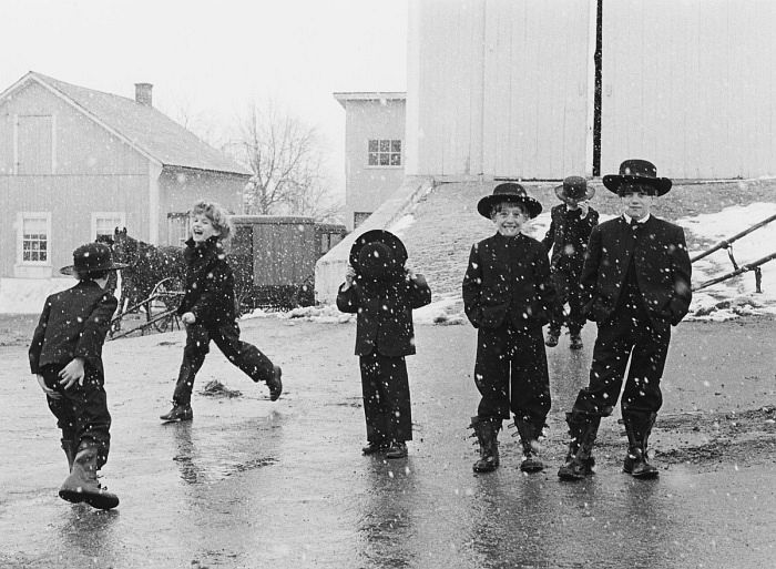 Amish Children Playing in Snow, Lancaster, Pennsylvania, 1969