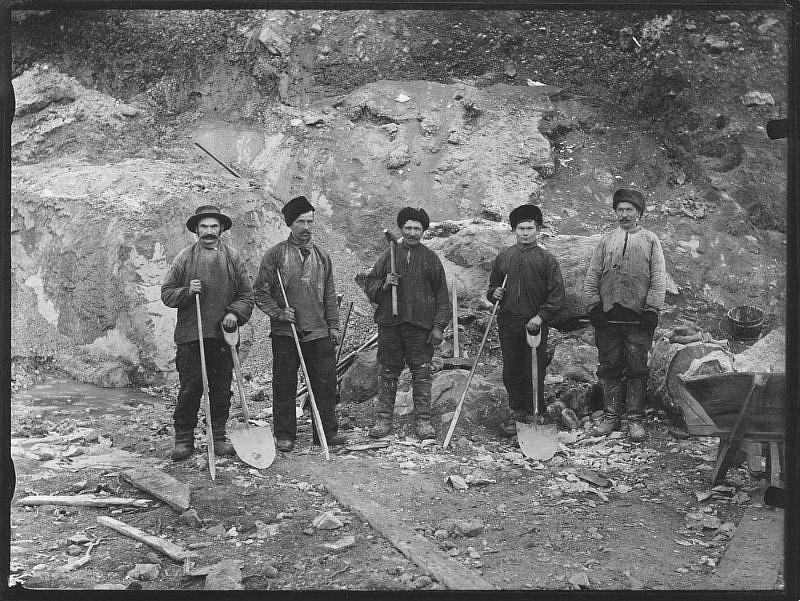 Group portrait of five workers, Kirkenes