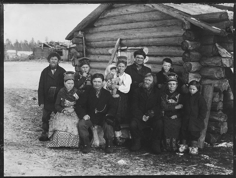 Group portrait of school family in open air