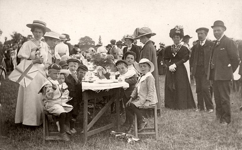 A children's outdoor tea party