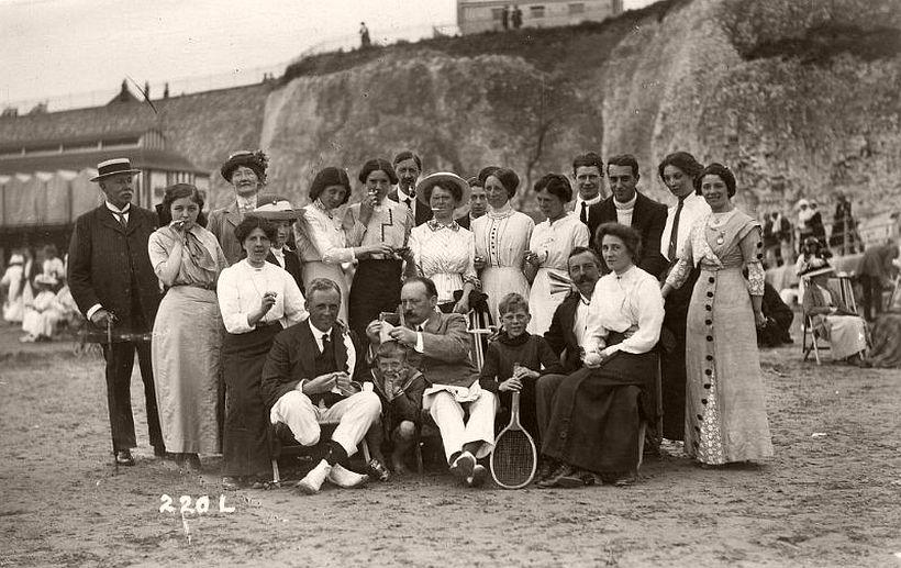 Edwardian group on the beach