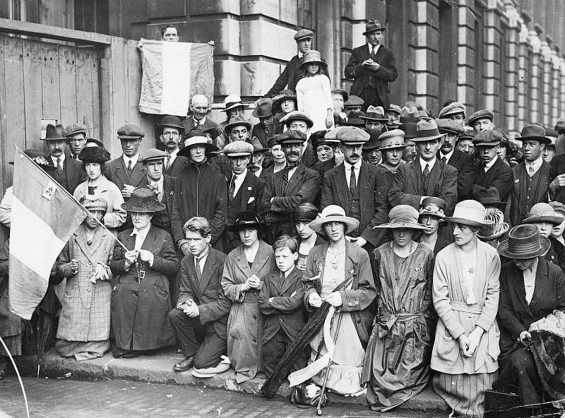 A prayer vigil, during the Irish Civil War, in London, 14 July 1921