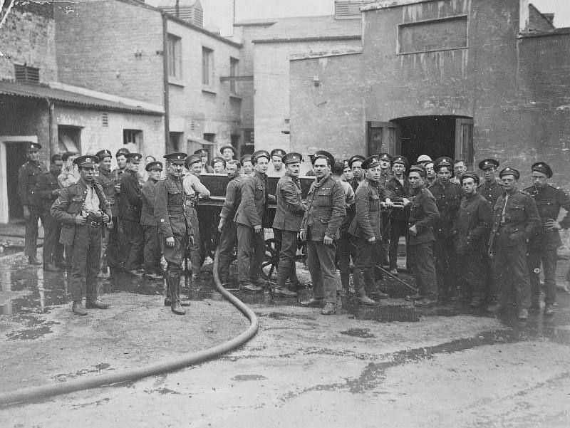 Clean up after fire at former munitions factory, Parkgate Street, Dublin, June 4, 1921