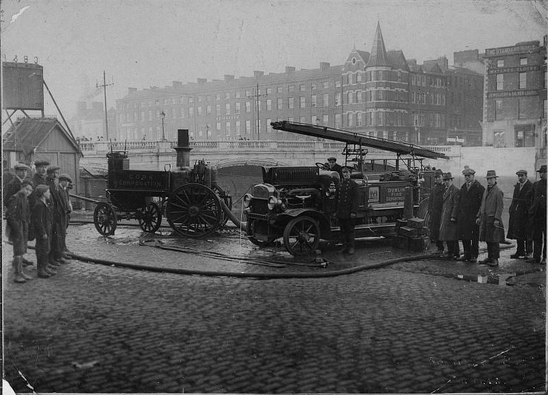 Dublin and Cork fire brigade appliances, December 1920