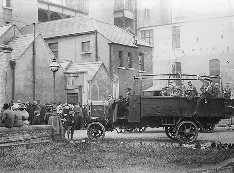 Friends of the victims and members of the military outside Jervis Street Hospital during the military enquiry into the Bloody Sunday shootings at Croke Park, 21 November 1920