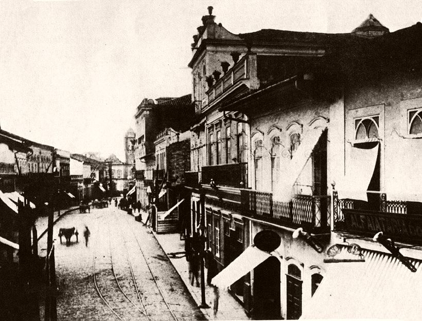 Imperatriz street, old Rosary street in Church, 1887
