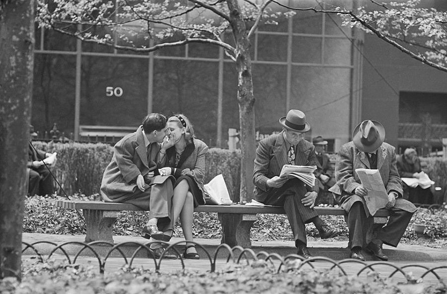 """Park Benches: Love is Everywhere,"" 1946. Credit: Museum of the City of New York"