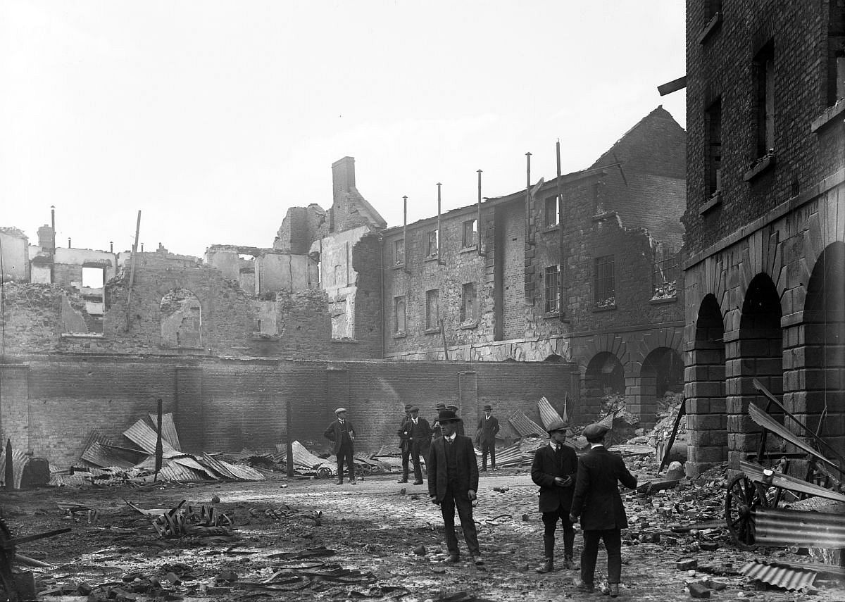 Linenhall Barracks, Dublin. Men surveying the wreckage of Linenhall Barracks in the aftermath of the Easter Rising in Dublin.