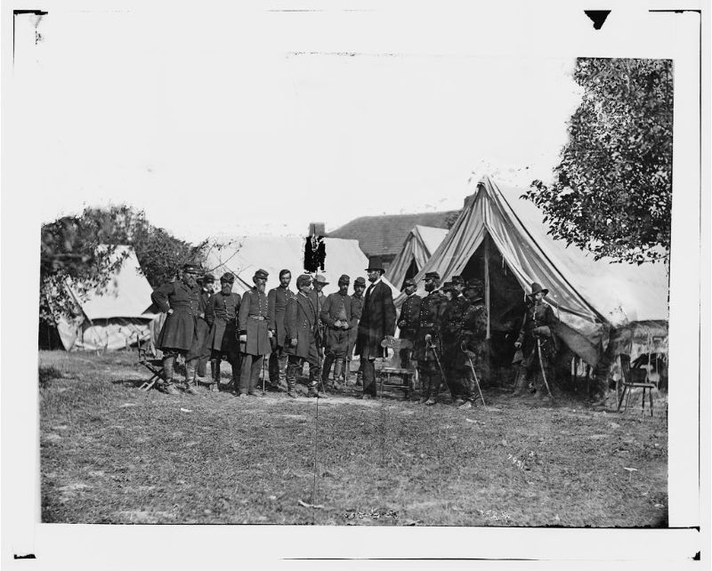 President Lincoln with Gen. George B. McClellan and group of officers