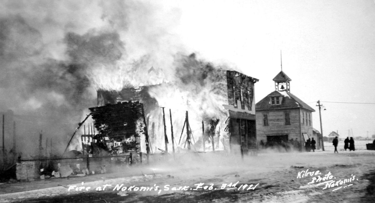 Fire at Nokomis, Saskatchewan, February 3, 1921