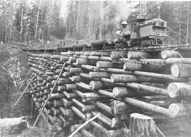 Crib trestle bridge of the Columbia& Nehalem Valley Railroad at the McBride Creek, circa 1905.