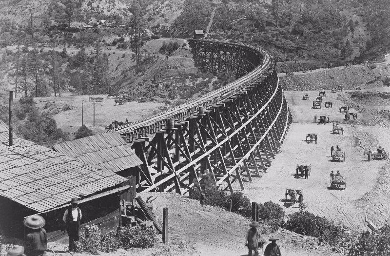 Trestle in Central Pacific Railroad, circa 1869.