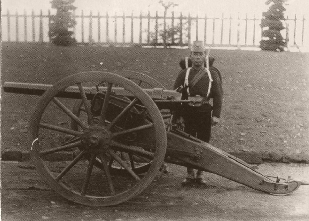 Artillery unit at the Koishikawa arsenal, Tokyo, in 1882.