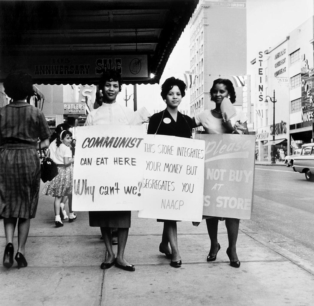 Ernest C. Withers, American, 1922 – 2007, NAACP Protest, Main Street, Memphis, early 1960s, Gelatin silver print, printed from original negative in 1999, Memphis Brooks Museum of Art purchase with funds provided by Ernest and Dorothy Withers, Panopticon Gallery, Inc., Waltham, MA, Landon and Carol Butler, The Deupree Family Foundation, and The Turley Foundation  2005.3.116 © Withers Family Trust