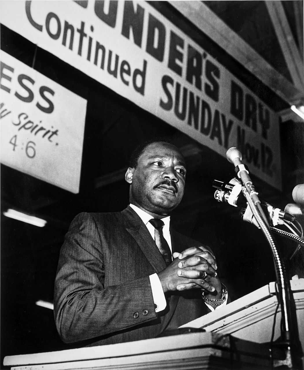 Ernest C. Withers, American, 1922 – 2007, Martin Luther King, Jr. – Speech at the Mason Temple, April 3, 1968, Gelatin silver print, printed from original negative in 1999, Memphis Brooks Museum of Art purchase with funds provided by Ernest and Dorothy Withers, Panopticon Gallery, Inc., Waltham, MA, Landon and Carol Butler, The Deupree Family Foundation, and The Turley Foundation  2005.3.39 © Withers Family Trust