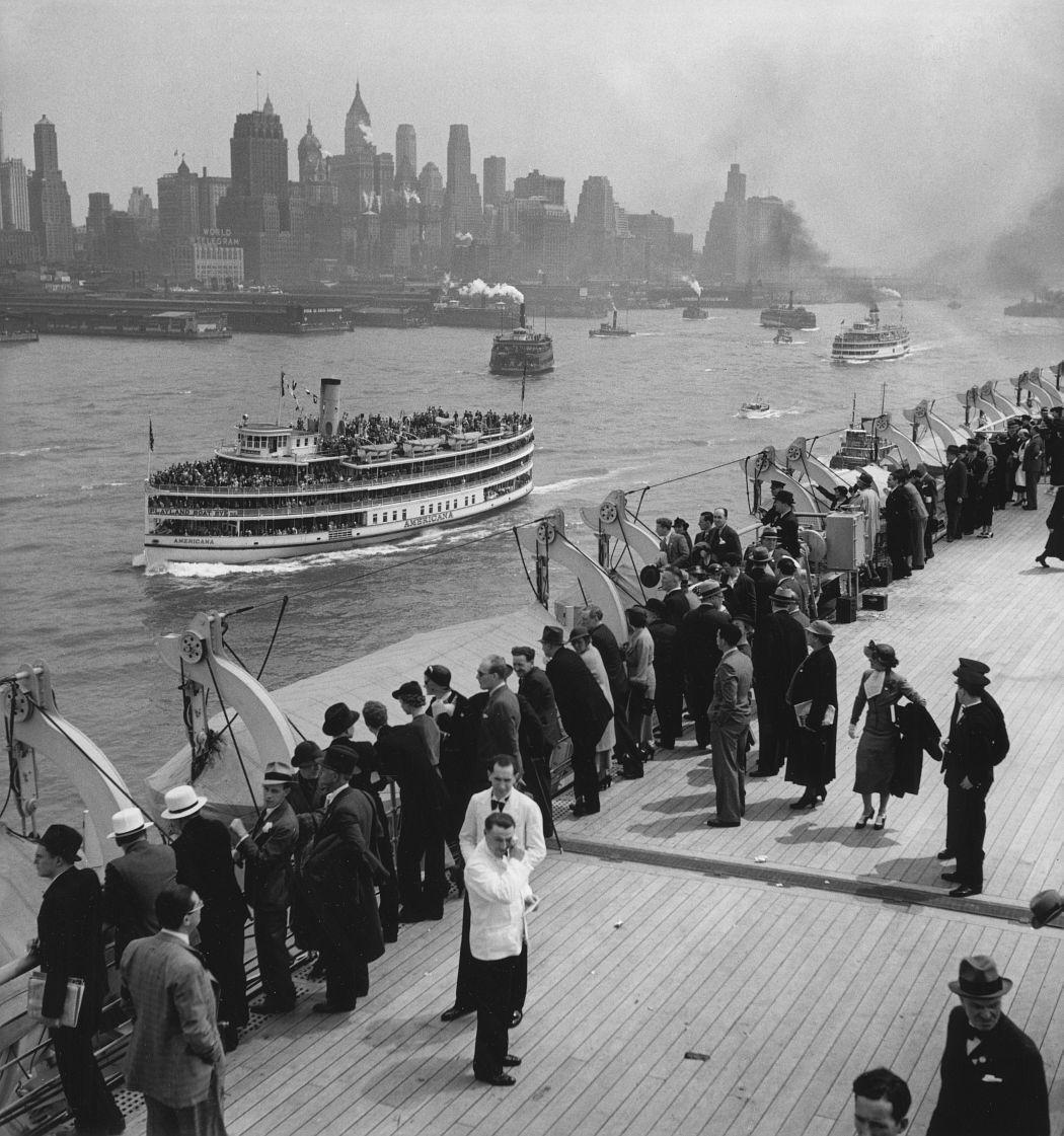 Arrivée à New York du Normandie 1, 1935