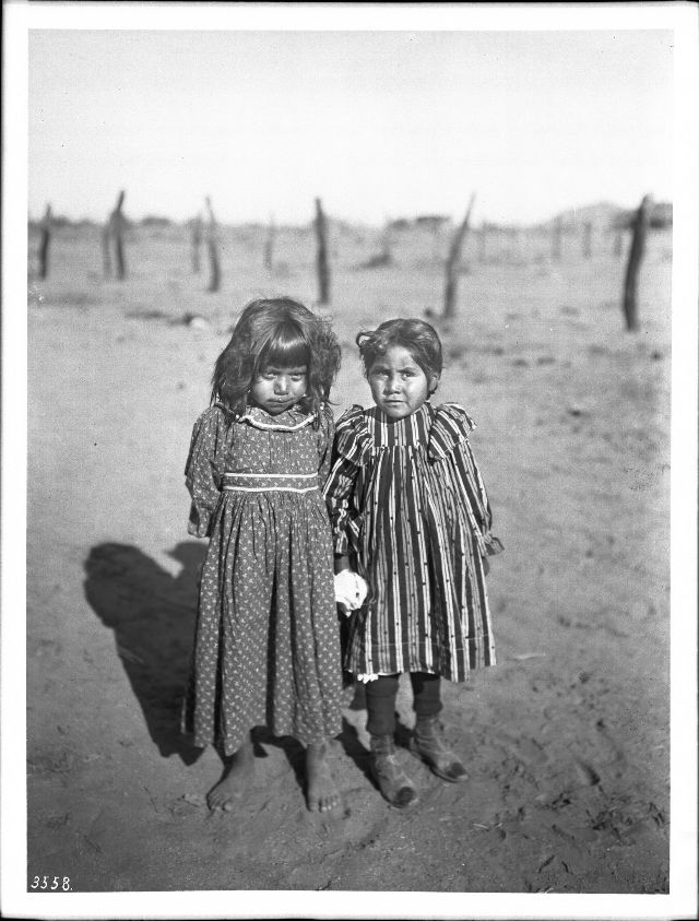 Two young Pima Indian school girls